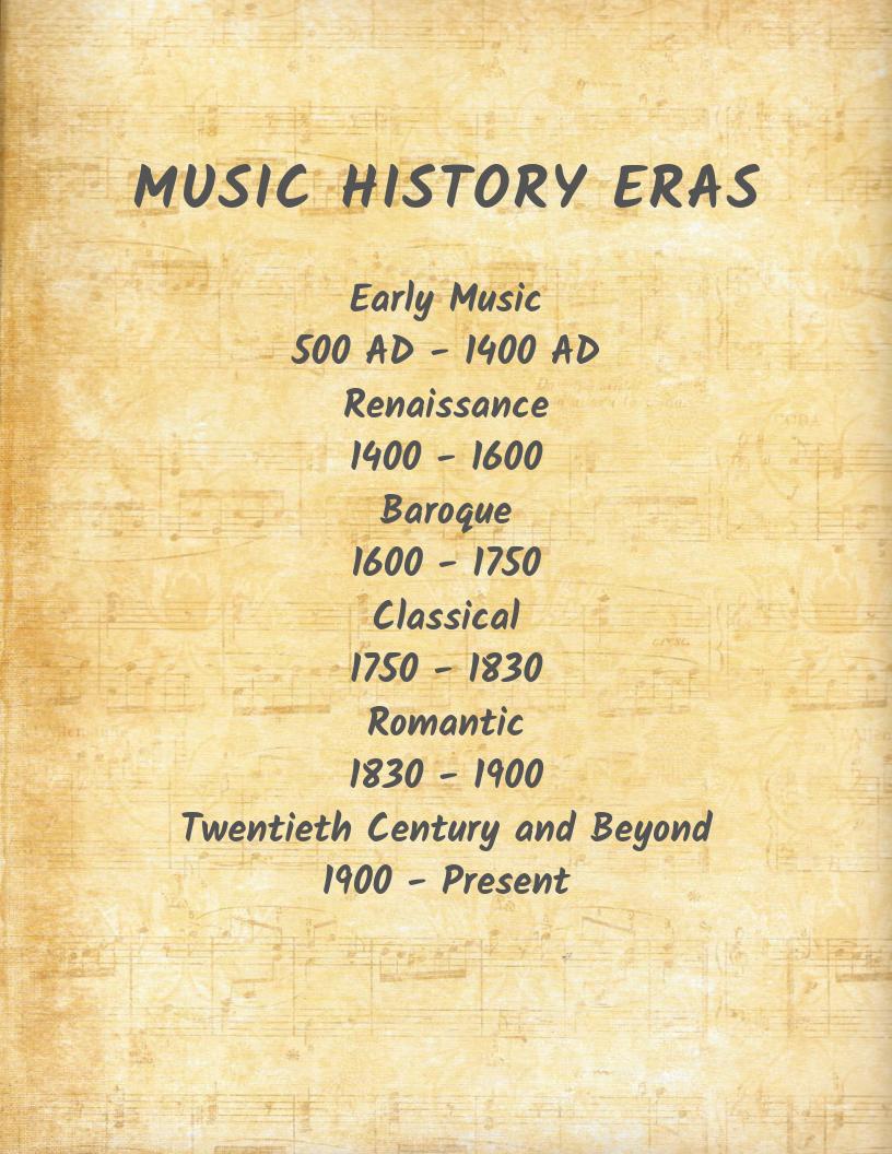 Music History Eras